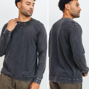 Men's CHARCOAL Black mineral wash pullover